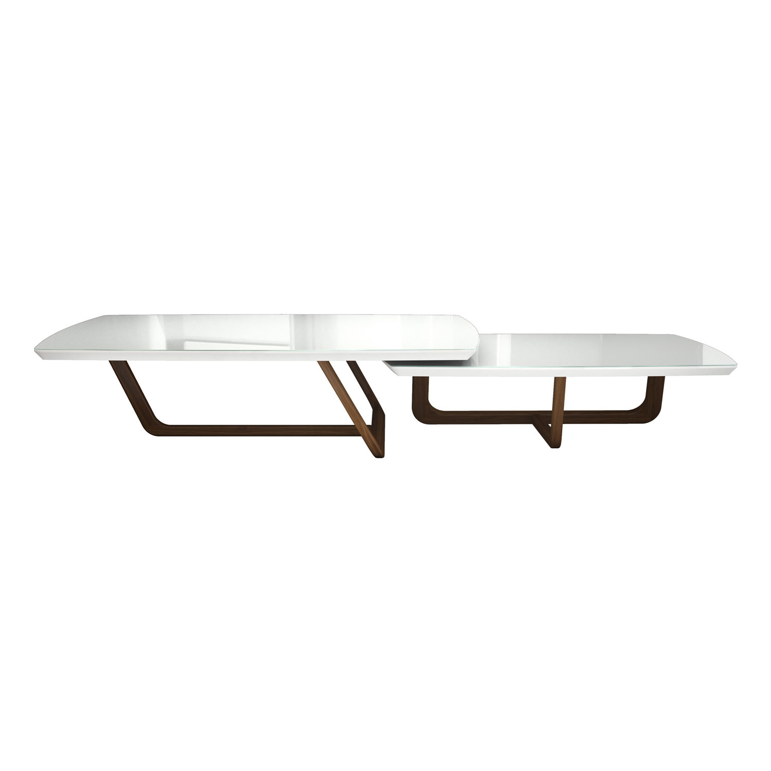 Belvedere Nested Coffee Tables White Glass Natural Modloft