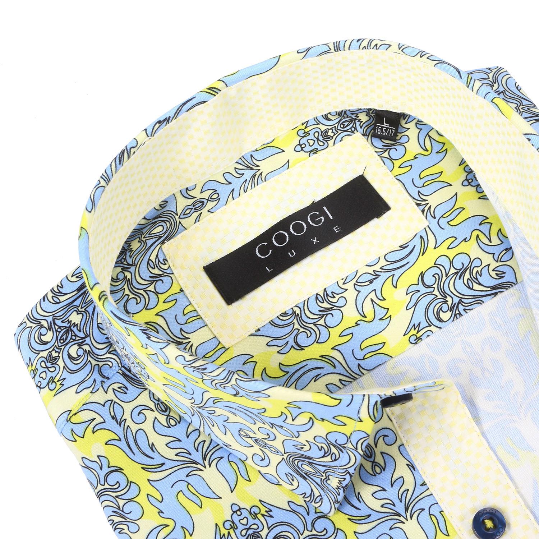 Craig dress shirt yellow light blue xs coogi for Blue and yellow dress shirt