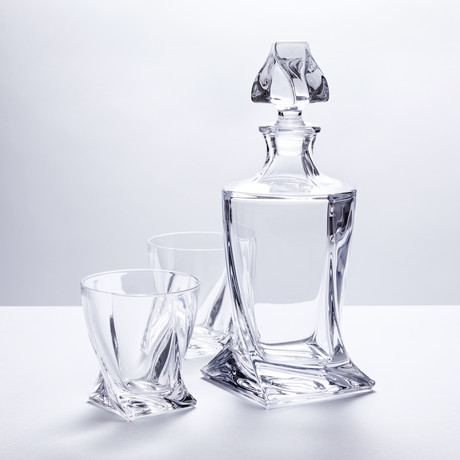 Calypso Glass Whiskey Decanter + 6 Tumblers