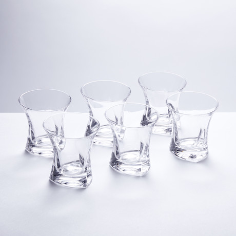 Contemporary Crystal Whiskey Glasses // Set of 6