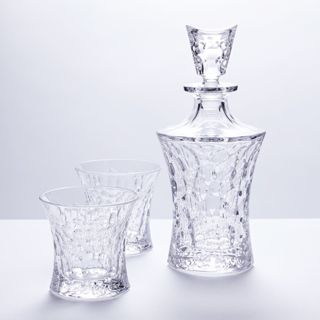 Bubbles Crystal Decanter + 6 Whiskey Glasses