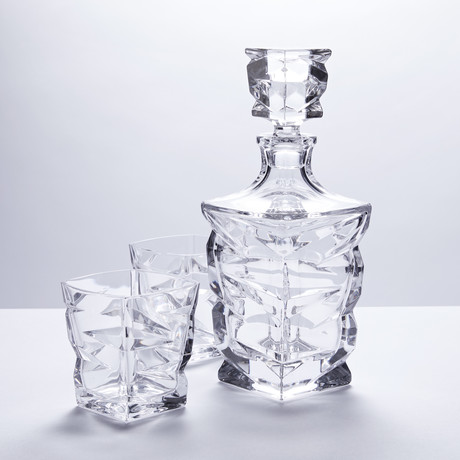 New Age Crystal Whiskey Decanter + 6 Tumblers