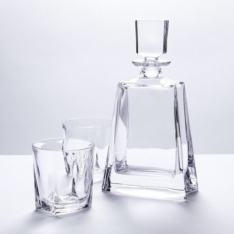 Crystal Clear Contemporary Whiskey Decanter + Glasses // Set of 7