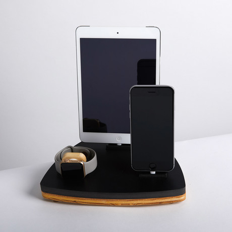 Nytstnd // TRIO Single Dock // Black (Oak Wood Base)