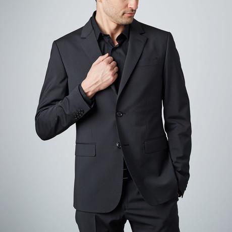 Narrow Pinstripe 2-Button Wool Suit // Black
