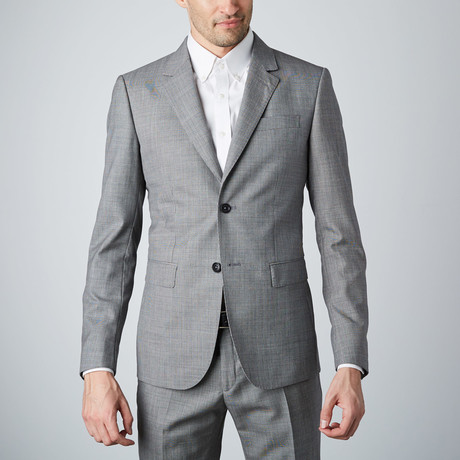 Textured Grid 2-Button Wool Suit // Grey