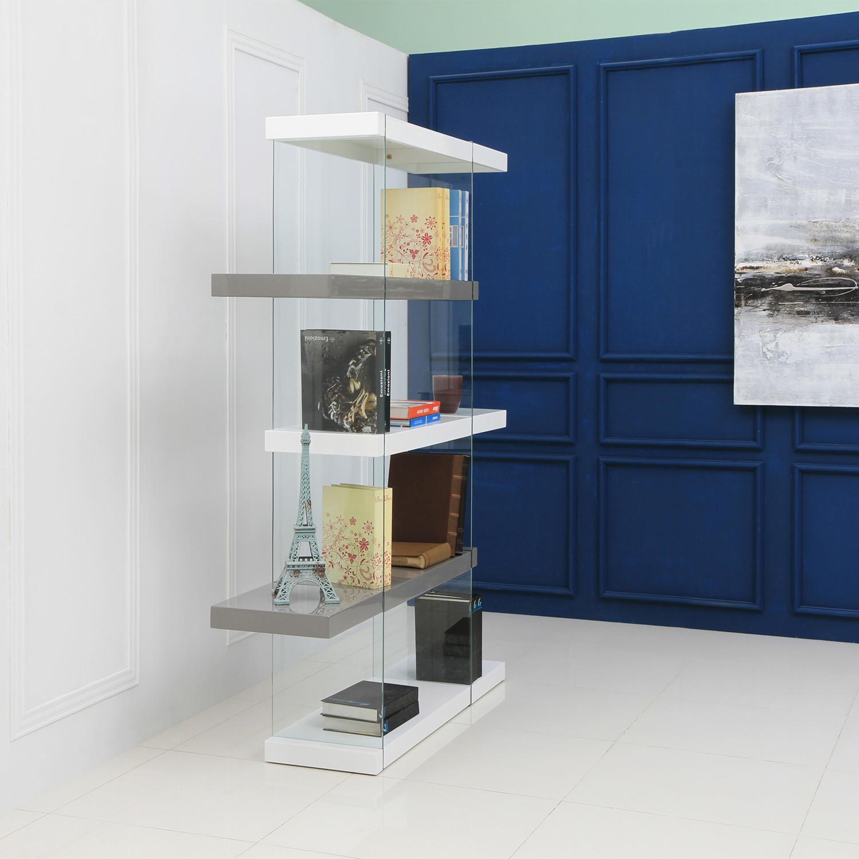 Il Vetro // Bookcase // Large (High Gloss White + Gray