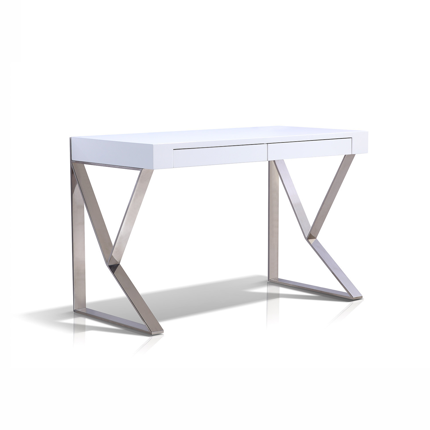 York Office Desk High Gloss White Casabianca
