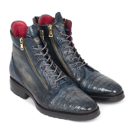 Genuine Crocodile + Calfskin Side Zipper Boots // Navy (Euro: 38)