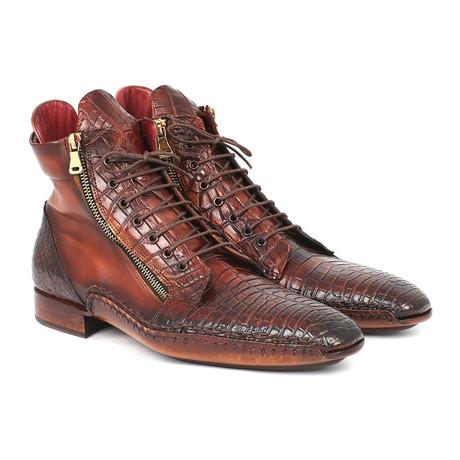 Croc & Calfskin Zipper Boot // Brown (Euro: 42)