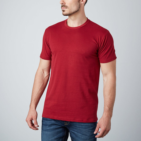 Ultra Soft Sueded Crewneck T-Shirt // Burgundy (S)