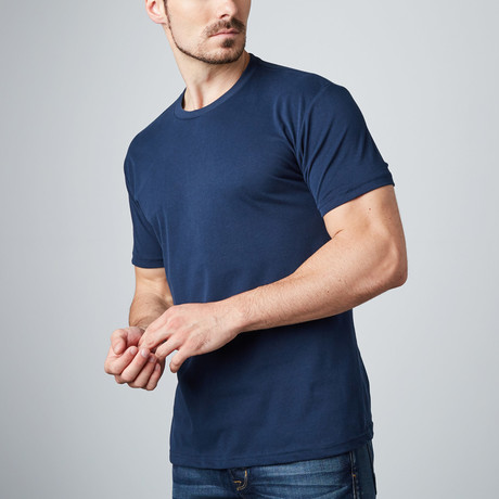 Ultra Soft Sueded Crewneck T-Shirt // Navy (S)