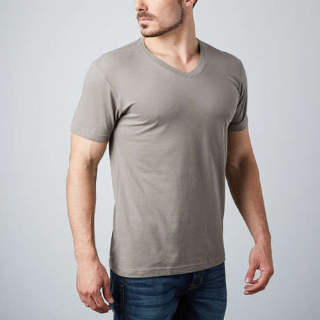 Ultra Soft Sueded V-Neck T-Shirt // Stone (S)