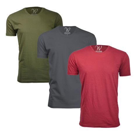 Ultra Soft Sueded Crewneck T-Shirt // Burgundy + Military Green + Heavy Metal // Pack of 3 (S)