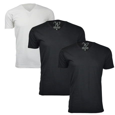 Ultra Soft Sueded Crewneck T-Shirt // Black + White // Pack of 3 (S)