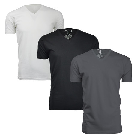 Ultra Soft Sueded Crewneck T-Shirt // Black + Heavy Metal + White // Pack of 3 (S)