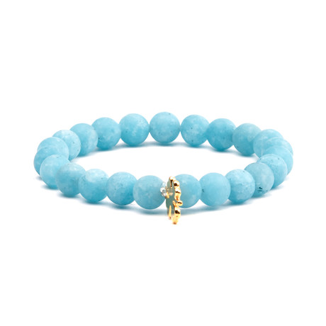 Lava Stones Leaf Charm Bracelet // Baby Blue