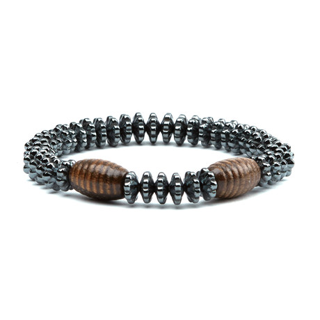 Accordion Bracelet // Rhodium + Wooden