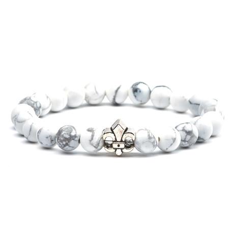 Fleur De Lis Charm Bracelet // White + Silver