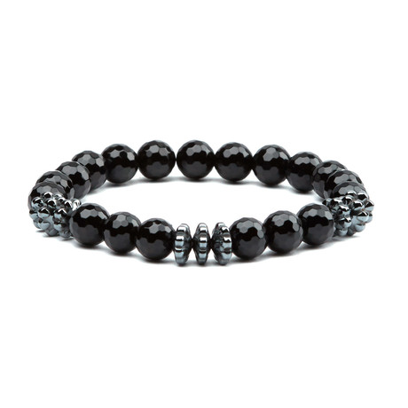 Crystal Cut Rhodium Bead Bracelet // Black