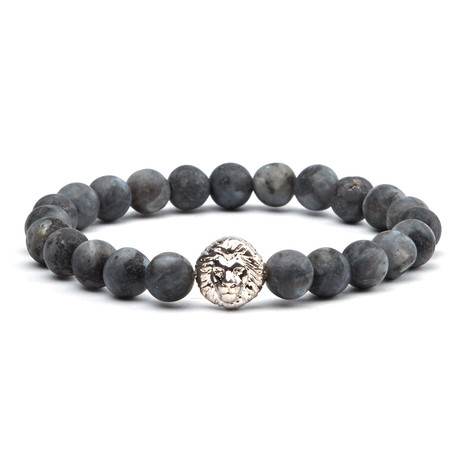 Lion Head Bead Bracelet // Silver + Anthracite