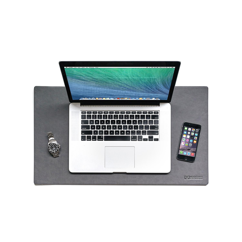 Leather Desk Pad Grey