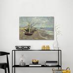 """Fishing Boats on the Beach at les Saintes Maries de la Mer // Vincent van Gogh // 1888 (26""""W x 18""""H x 0.75""""D)"""