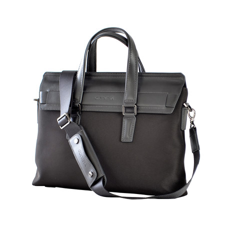 Nylon + Leather Satchel (Gray)