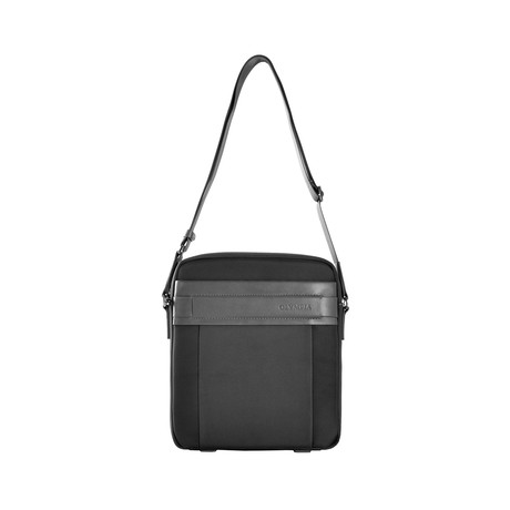 Nylon + Leather Messenger Bag (Gray)