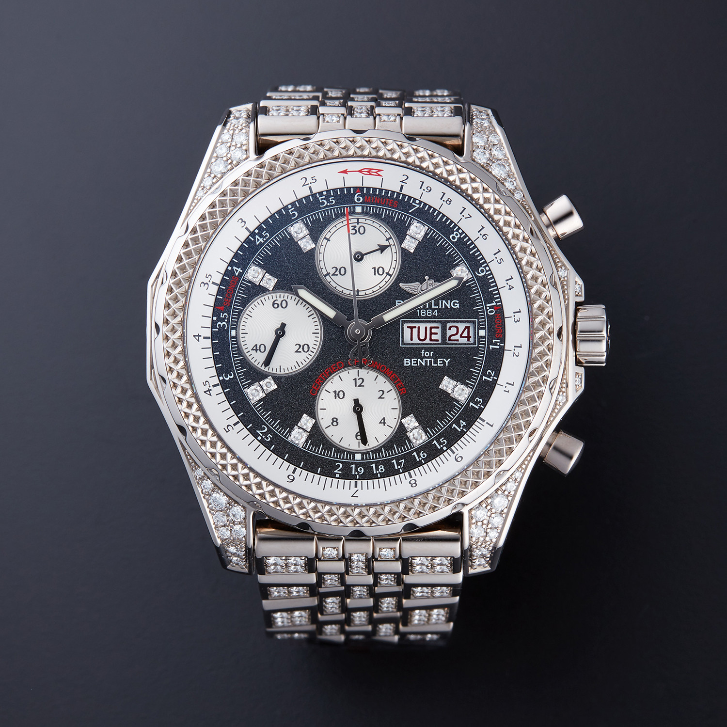 bentley breitling white dial c stainless chronograph strap steel p