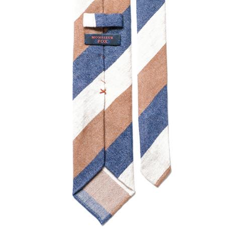 Cashmere Block Stripe Tie // Blue, Brown + Cream