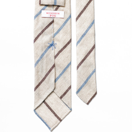 Striped Cashmere Tie // Vanilla + Blue + Brown