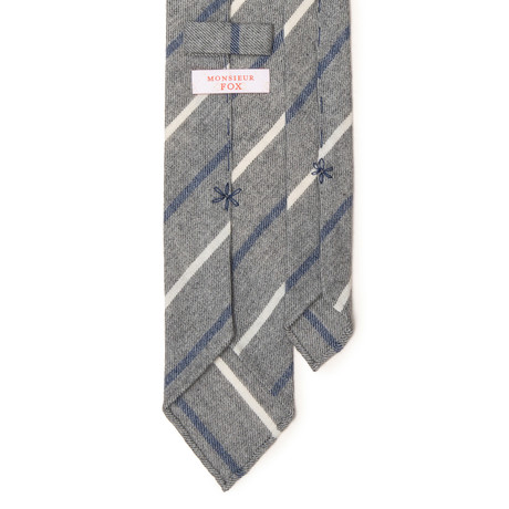 Striped Cashmere Tie // White + Blue +  Light Grey