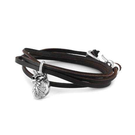 Anatomical Heart Bracelet (Bronze + Black Leather)