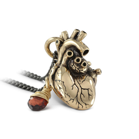 "Anatomical Heart + Garnet Necklace (Bronze // 20"" Gunmetal Chain)"