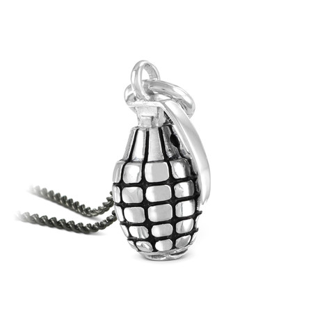 "Grenade Necklace (Bronze // 20"" Gunmetal Chain)"