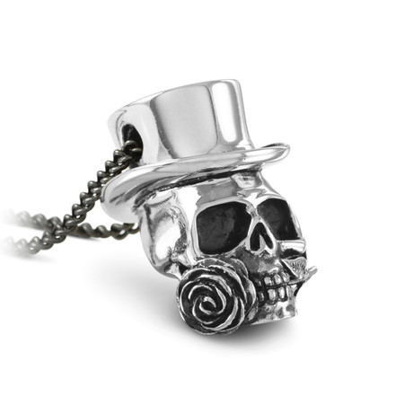 "Guns 'n' Roses Skull Necklace (Bronze // 20"" Gunmetal Chain)"
