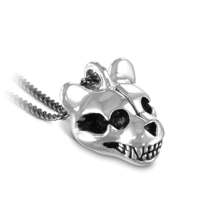 "Teddy Bear Skull Necklace (Bronze // 20"" Gunmetal Chain)"