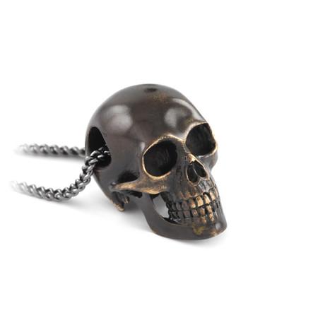 Black Human Skull Necklace
