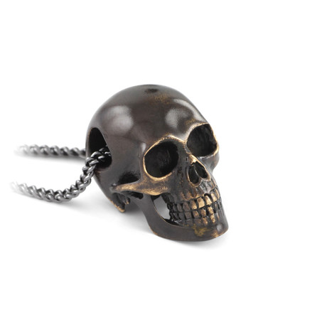 "Black Human Skull Necklace (Bronze // 20"" Gunmetal Chain)"
