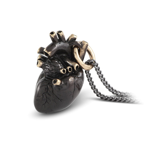 "Black Anatomical Heart Necklace (Bronze // 20"" Gunmetal Chain)"