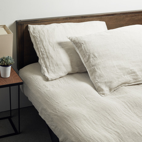 Lino Bedding // Pillowcases // Set of 2 // Linen + White (Standard)