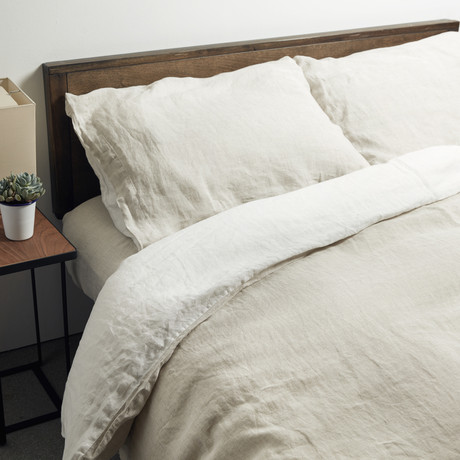 Lino Bedding // Duvet Cover // Linen + White (Queen)