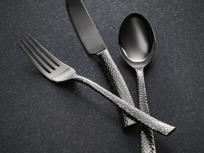 Photo of Argent Orfevres Timeless Cutlery Paris Hammered Titanium Cutlery // Gunmetal // 20 Piece Set by Touch Of Modern