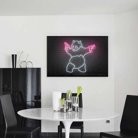 """Panda With Guns // Octavian Mielu (40""""W x 26""""H x 1.5""""D)"""