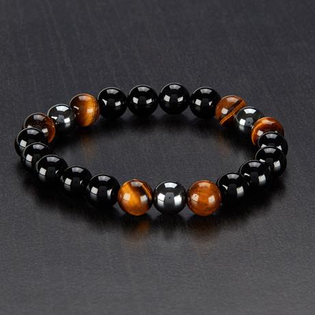 Tiger Eye + Onyx + Hematite Polished Bead Stretch Bracelet