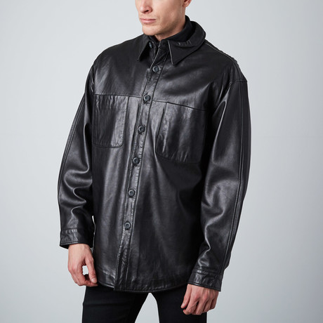 Leather Shirt Jacket // Black (L)
