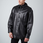 Leather Shirt Jacket // Black (XL)