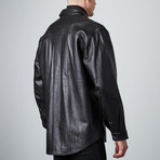 Leather Shirt Jacket // Black (XS)