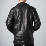 Lambskin Zip-Front Coat // Black (S)
